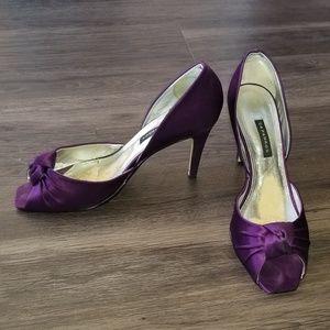 Adriana Silk Amethyst Heels